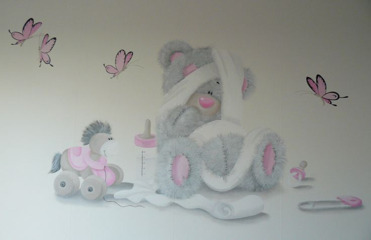 Muurschildering babykamer van Me to You beer. Zie ook mijn Facebookpagina: https://www.facebook.com/esthersmuurschilderingen/