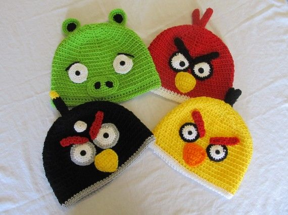 Angry birds hats!: Hats, Crochet Knitting, Crochet Hats, Tissue, Angry Birds, Craft Ideas, Bird Hats, Birds Hats, Kid