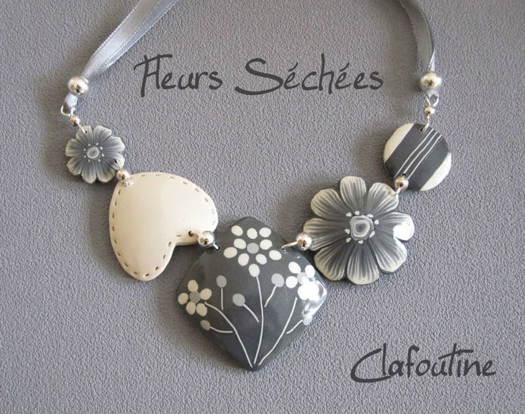 Polymer Clay necklace, FIMO, Fleurs séchées by Clafoutine
