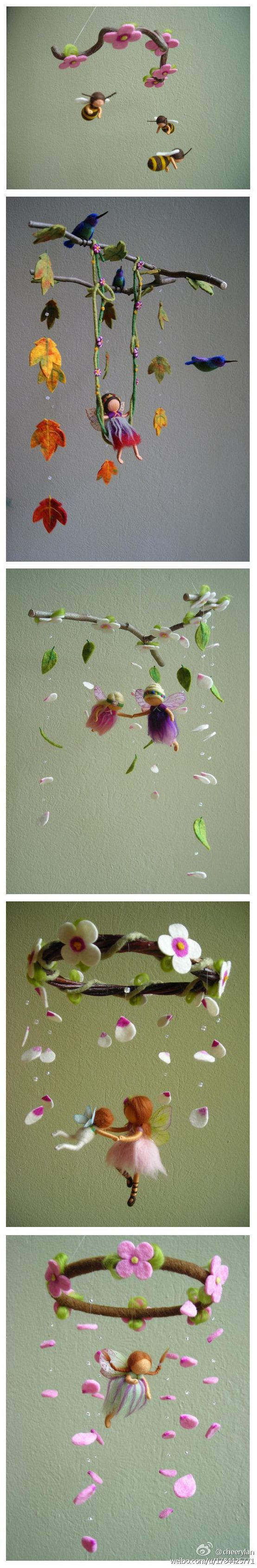 Fairy mobiles with flowers and leaves | What an adorable #handmade #babyshower gift idea! To make, or to buy from a WAHM, right? Beautiful.