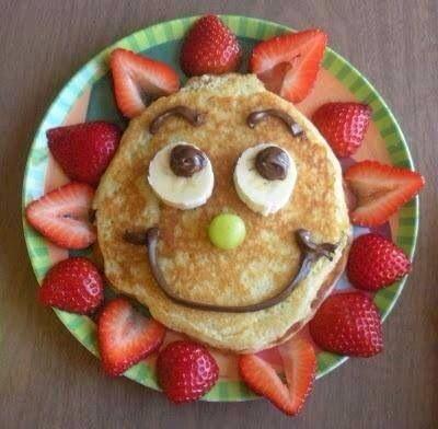 #hotcakes #fresas #plátano #carita