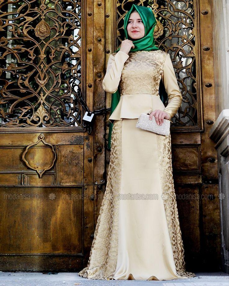 Peplum Detaylı Abiye Elbise - Gold - Mevra Tesettür Modeli ile ilgili tüm detayları buradan inceleyebilirsiniz
