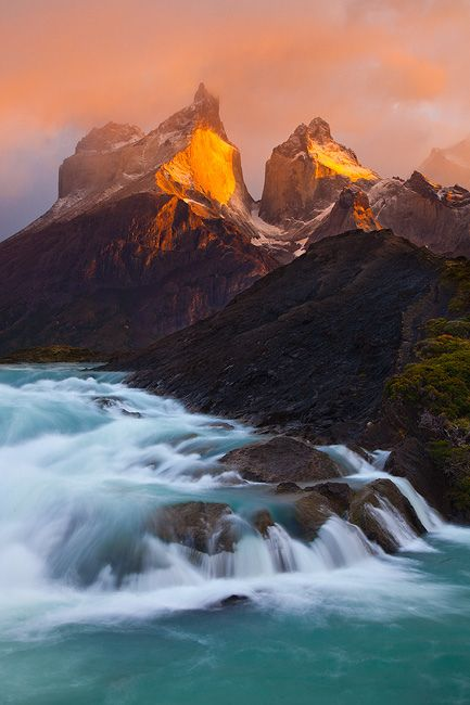The Cuernos and Paine River at sunrise. Torres del Paine National Park, Chile