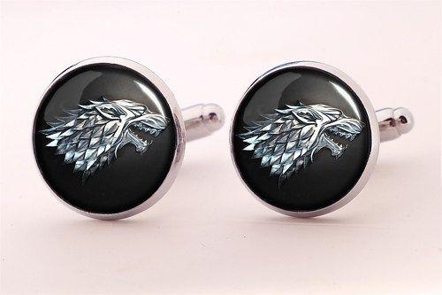 Game of Thrones Stark Crest Cufflinks,Groomsmen Wedding Cufflinks