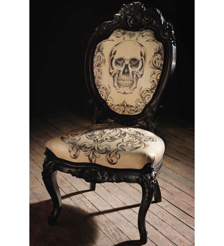 If you live a Goth way of life, then it's implied that you would prefer having Gothic furniture around that reinforces your lifestyle. The hand tattoed lea