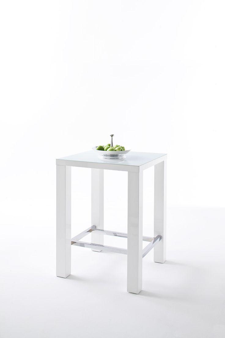 Bartisch Jamie in 2 unterschiedlichen Größen Material: Hochglanz weiß lackiert Metallverstrebung: Quadratrohr, 3,8 x 3,8 cm verchromt Tischplatte: 5 mm Glas lackiert...
