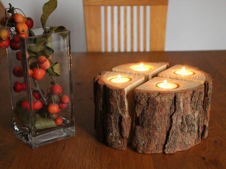 Adventskranz - Adventskranz Kerzenständer Holz mit Baumrinde - ein Designerstück von Glasperlenwerkstatt bei DaWanda