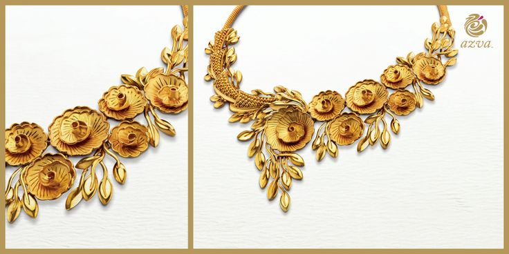 Roses in Gold! 22k gold jewellery, intricately crafted for the contemporary #Bride! #DetailsInGold #BridalGold #WeddingVows #Jewellery