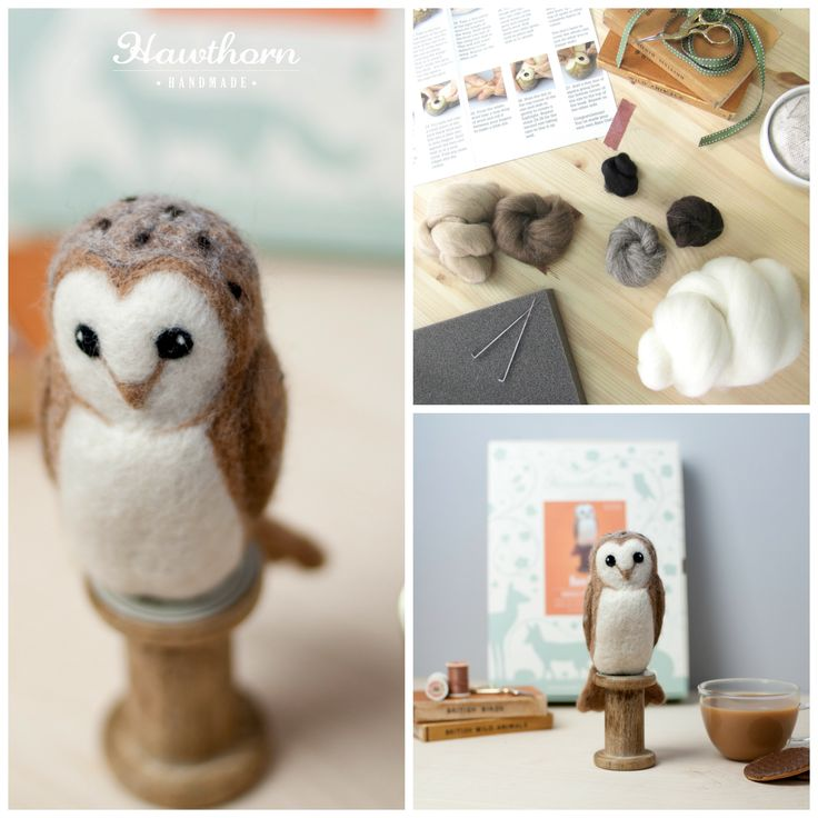 Learn how to needle felt this wise Barn Owl using British felting wool. Follow the step by step photo instructions and use the included felting needles to stab the wool to life. Photo Credit: Holly Booth
