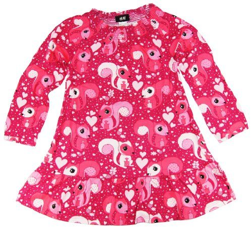 HM Toddler Girls Red Squirrel Long Sleeve Cotton Dress 2-4Y 4-6Y 6-8Y