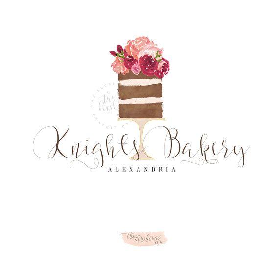 Naked Cake Logo, Premade Logo, Graphic Design, Business Logo, Rustic Cake, Logo Design, Watercolor Logo,…