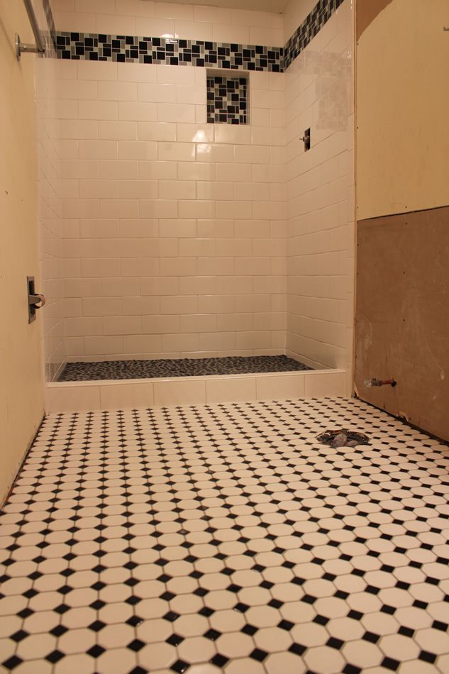 Subway Shower With River Rock Shower Floor And Diamond Hex Mosaics On Bathroom  Floor. Part 45