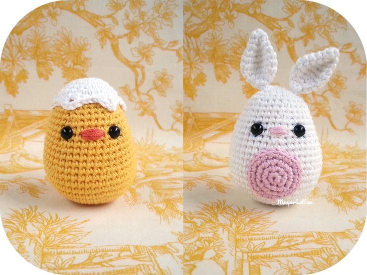 Le lapin et le poussin: amigurumi de Pâques