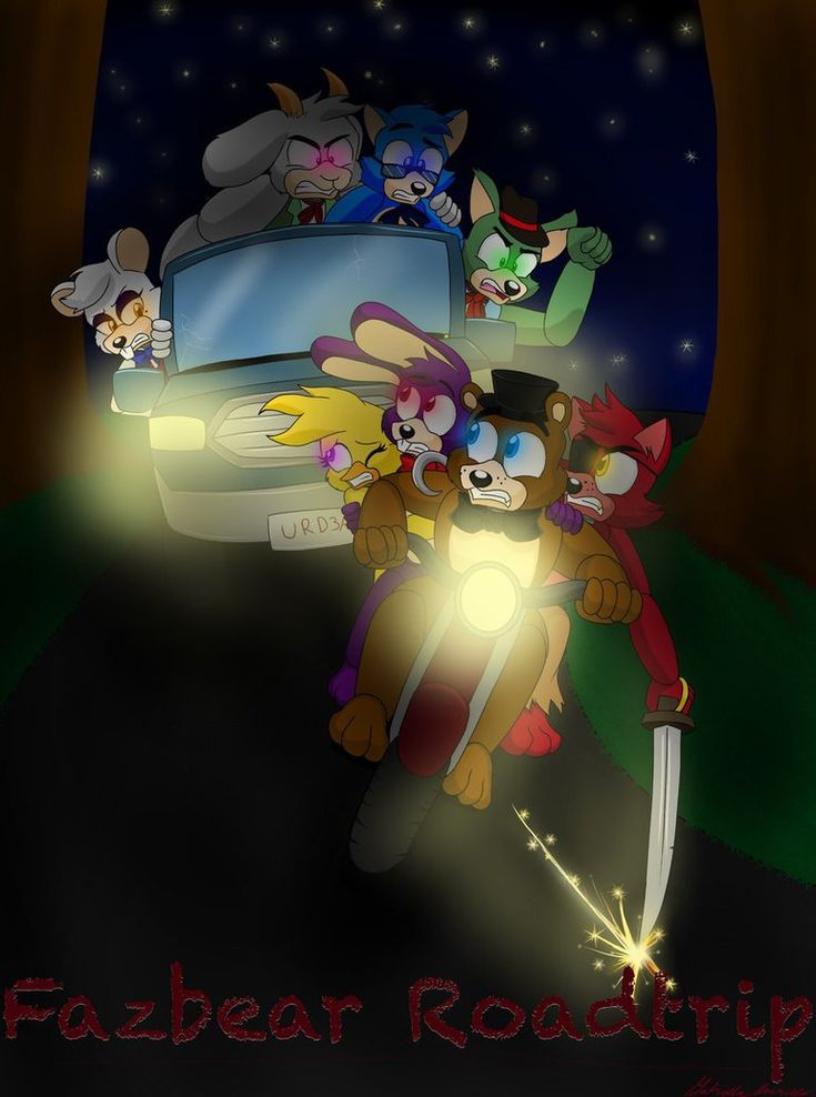 Fazbear roadtrip cover redone by cacartoon with images