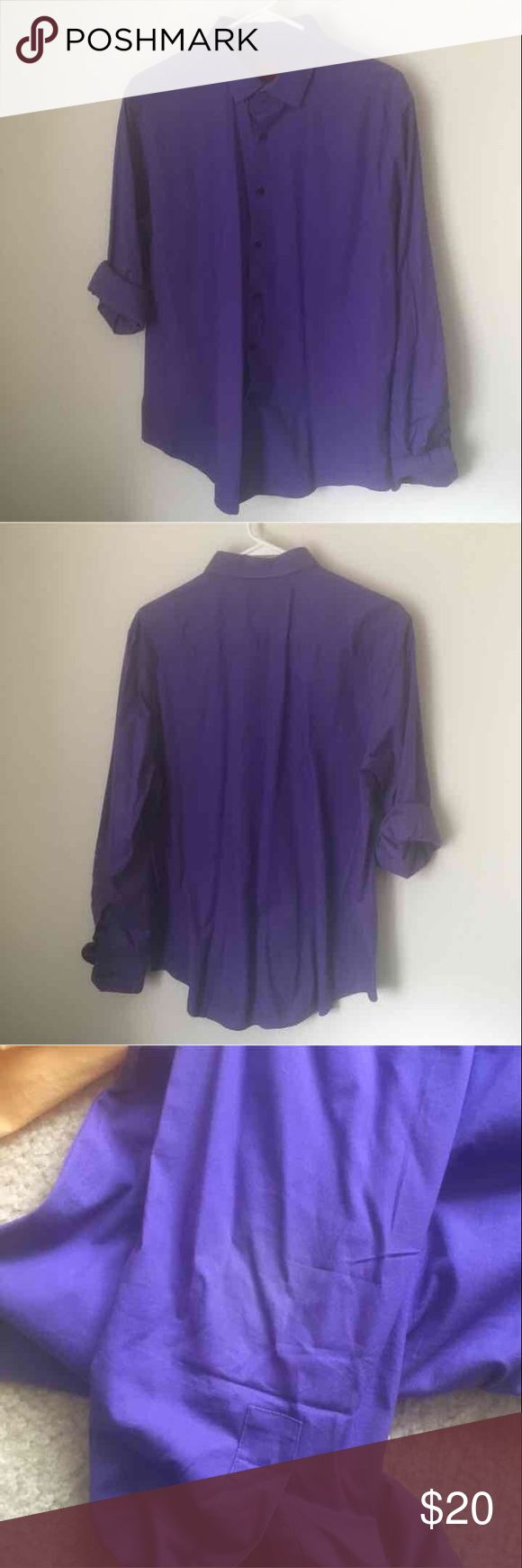 Purple dress shirt In good used condition  Beautiful purple color  Slight fading on the elbows as shown; can be covered up by rolling sleeves (that's how these shirts were always worn)  16-16.5 34-35 Alfani slim fit Alfani Shirts Dress Shirts