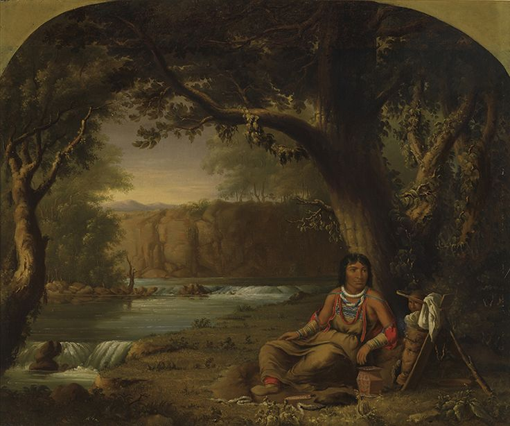 """In this oil painting, the massive tree, with its intertwining branches, vines, and protective leaf canopy, suggests an Arcadian landscape, an ancient and unspoiled utopia. """"The Constant Sky,"""" Saulteaux, c. 1849–56, Royal Ontario Museum."""