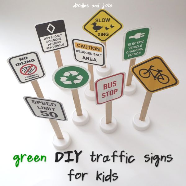 All Signs Point to GREEN Fun. DIY toy car traffic signs from Doodles and Jots. FREE Printables!