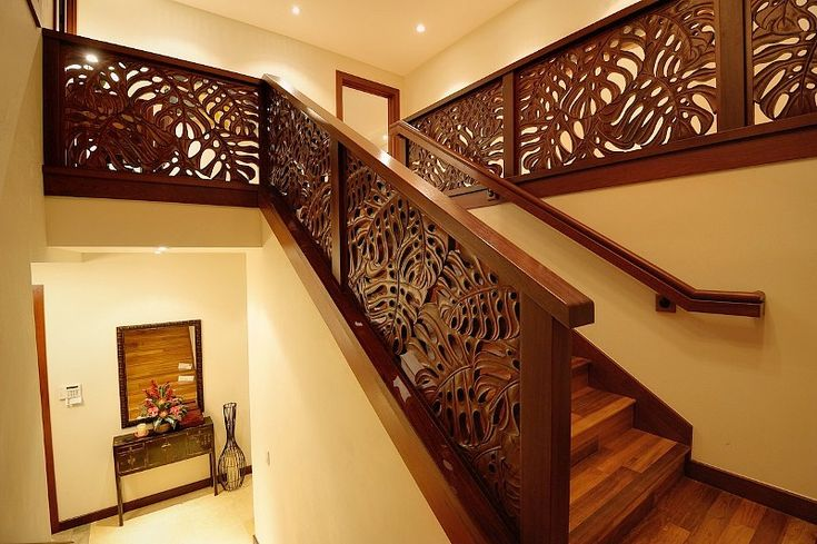 Hand Carved Merbau Stair Railings From Indonesia