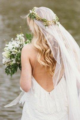 couronne de fleurs voile