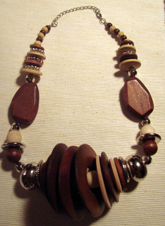 Vintage Wooden Necklace by EveGorgeous on Etsy, $36.00