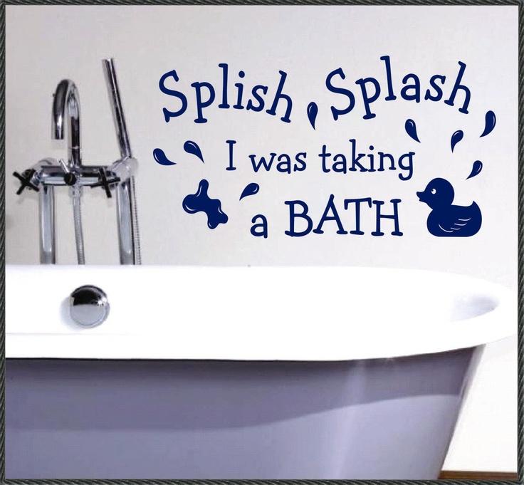 splish splash taking a bath bathroom quote vinyl wall lettering vinyl wall decals vinyl. Black Bedroom Furniture Sets. Home Design Ideas