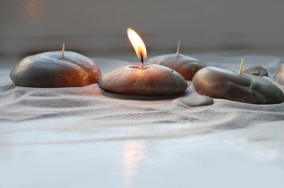 Handmade Candles Pebbles Candles  Hand Sculptured From Wax Candles  Beach Stone Candles - Set Off Four
