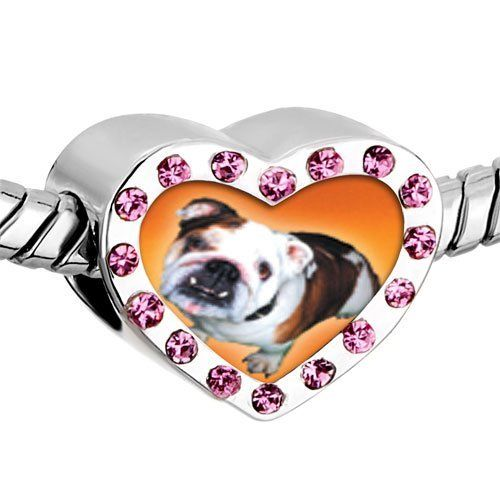 Pugster Pink Swarovski Crystal Brown White Bulldog Photo Heart Silver Plated Beads Fits Pandora Charm Chamilia Biagi Bracelet Pugster. $16.49. Size (mm): 12.95*7.4*10.31. Color: Pink. Weight (gram): 2.8. Metal: Crystal