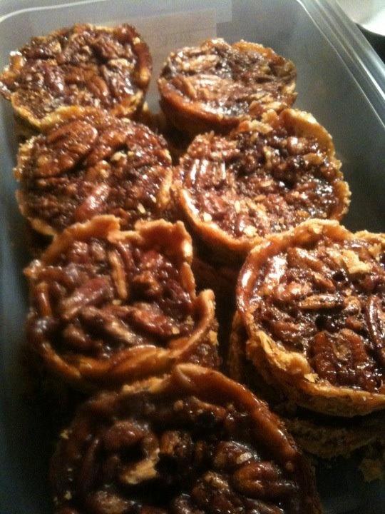Miniature Jack Daniels Chocolate Pecan Pies! Here's the recipe I used: http://www.grouprecipes.com/41118/jack-daniels-chocolate-chip-pecan-pie.html