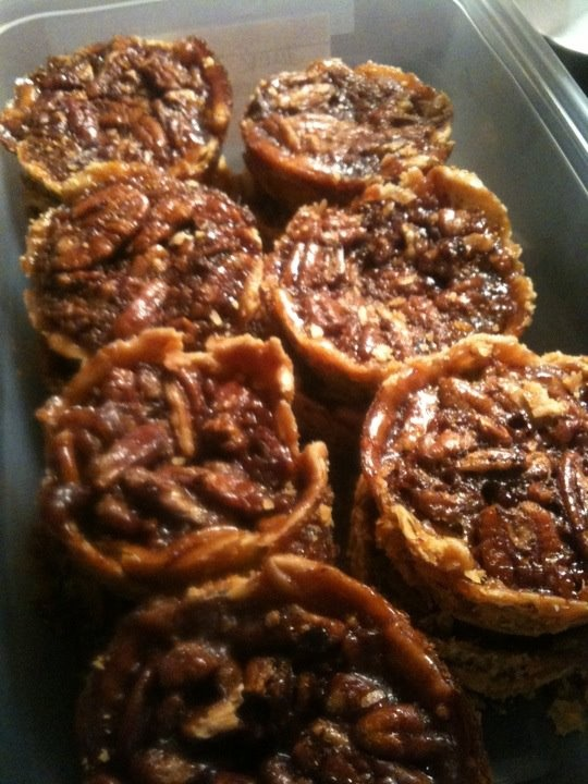 Miniature Jack Daniels Chocolate Pecan Pies! Here's the recipe I used: http://www.grouprecipes.com/41118/jack-daniels-chocolate-chip-pecan-pie.html