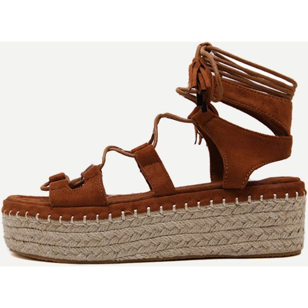 Brown Open Toe Lace-up Espadrille Wedges (66 AUD) ❤ liked on Polyvore featuring shoes, sandals, strappy sandals, lace up wedge sandals, brown sandals, gladiator wedge sandals and platform wedge sandals