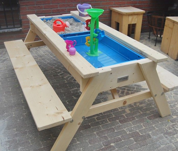 Sand and water table *Make a slide groove to use it as a regular picnic table (dual purpose). | Mason Walter in 2019 | Kids picnic Kids picnic table ... & Sand and water table *Make a slide groove to use it as a regular ...