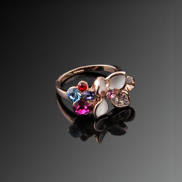 Çiğdem Yüzük - Avusturya kristali - Swarovski taşlar - Altın kaplama - Aksesuar - Yüzük - Dalya Takı Austrian Crystal - Swarovski stones - Gold plated - Rose gold - Accessory - Ring - Pink - Crocus