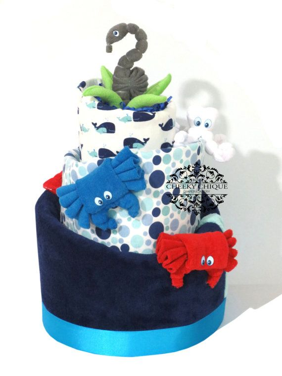 Under the Sea, Baby Topsy Turvy Diaper Cake, Birthday, Baby Shower, Centerpiece, Decorations, Sea Creatures, Octopus, Seahorse, Crabb, Plant