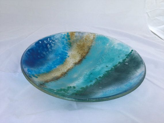 Blue shallow fused glass bowl on Etsy, $120.00