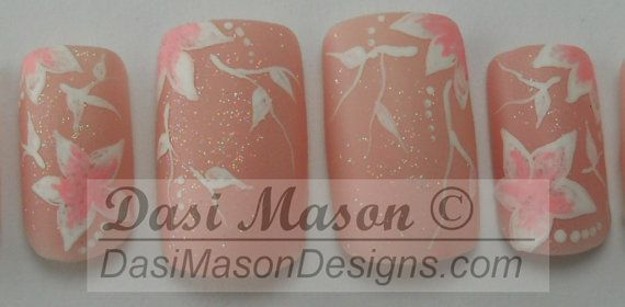Sheer Pink Floral Instant Acrylic Nail Set by dasimason on Etsy, $12.00