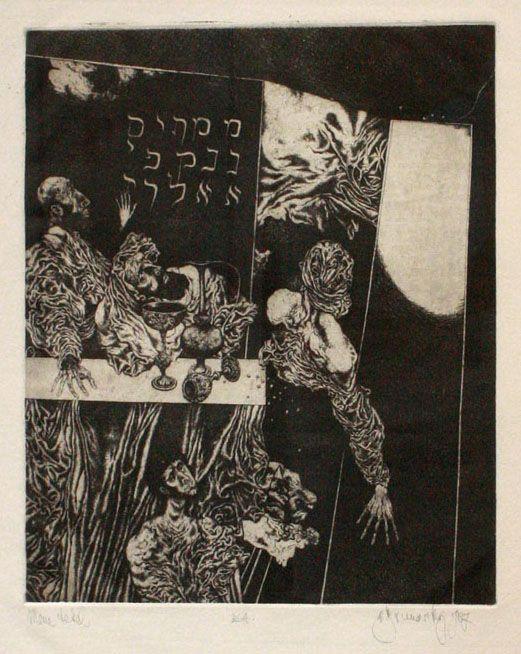 MENÉ, MENÉ, TEKEL, UFARSÍN, 28x24 cm, lept / etching