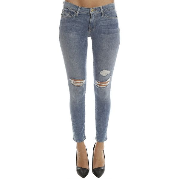 Frame Denim Le Skinny De Jeanne FRAME DENIM ($115) ❤ liked on Polyvore featuring jeans, designers, frame denim, home, women's, zipper skinny jeans, light wash jeans, super skinny jeans, skinny leg jeans and low rise jeans