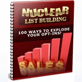 """Another #PLR product for you.""""Nuclear List Building""""...Discover the real secrets to making a fortune online... by exploding your opt-in results! With a 33 page report plus Reseller pack includes salespage, confirmation page, download and squeeze pages (all include professional copywriting). Graphics include psds, website and eCovers. Plus 2 bonus reports.Great #PLR."""