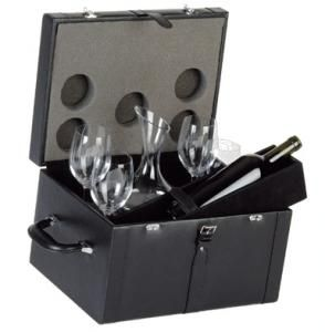 Bauletto in pelle per 2 Bottiglie di vino da 750 ml. con decanter e 4 calici per vino.