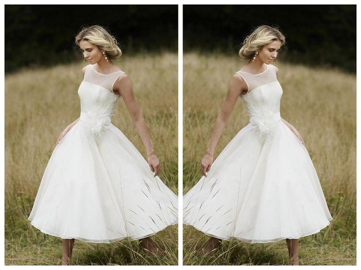 Straps Scoop Neckline Princess A-line Tea Length Wedding Dress