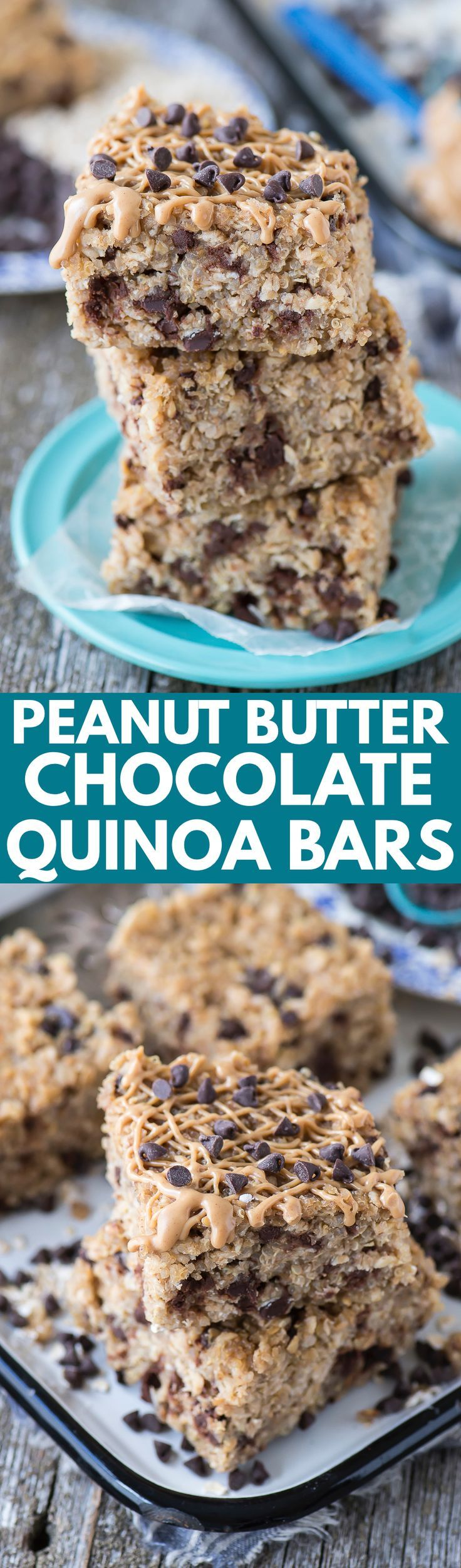 Healthy peanut butter chocolate chip quinoa granola bars! 7 ingredients and 30 minutes to bake! The best homemade granola bar! (oatmeal squares granola bars)