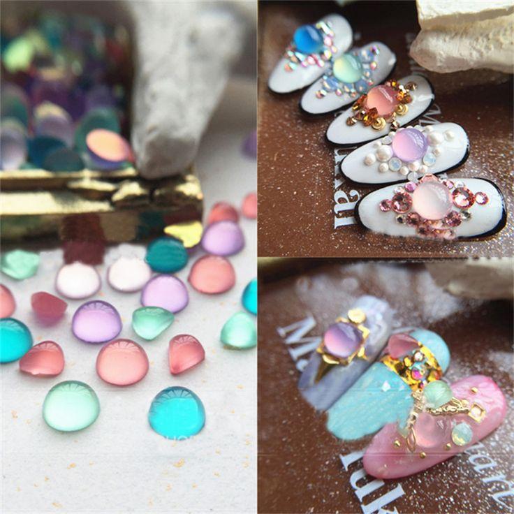 10Pcs Candy Colored Round Waterdrop Nail Studs DIY 3D Nail Art Decoration DIY Nail Rhinestones For All Nail Tips