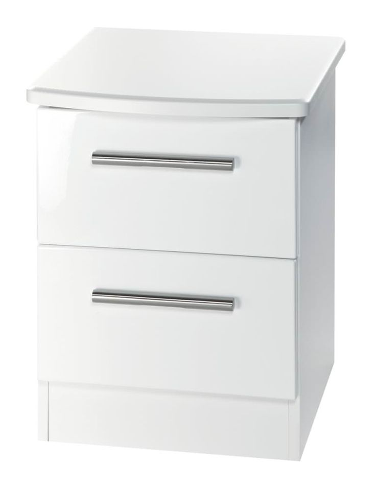 Knightsbridge White Bedside Cabinet - 2 Drawer