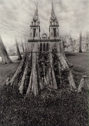 Multiple prints by Jerry Uelsmann. Darkroom manipulation