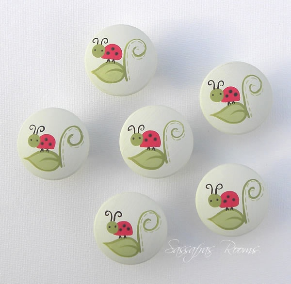 Ladybug Knobs/Nail Covers (Red)