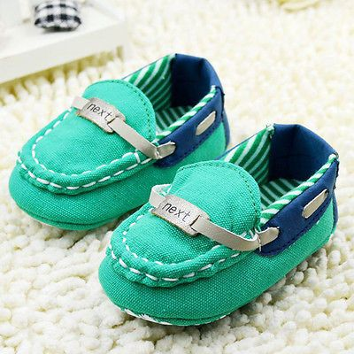 Infant baby boy green Soft Sole Crib Shoes Toddler shoes Size 0-18 Months