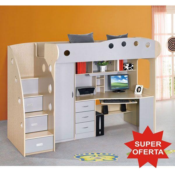 [SALE] KRING KUL Dormitor multifunctional pat supraetajat, birou si dulap pentru copii | TimeZ.ro