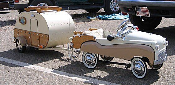 *CHILD's MINATURE PEDAL CAR ~ with miniature trailer, actually an ice chest on wheels, c. mid-20th C. So cool!