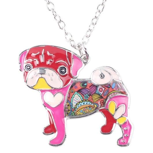Pink Pug Necklace - Square Berry Co