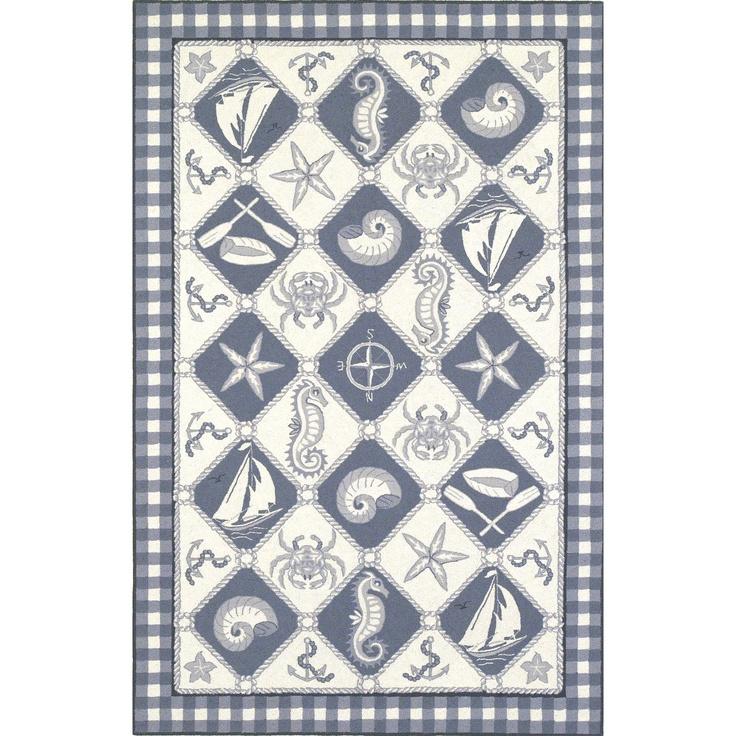 Kas Oriental Rugs Colonial Blue Ivory Nautical Novelty Rug